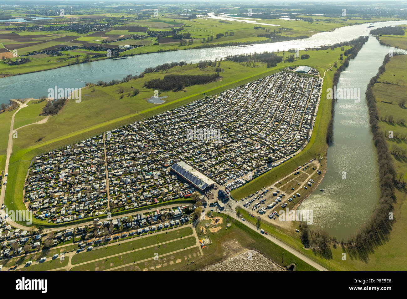 Aerial view, campground Grav-Insel am Niederrhein, largest camping site in Germany, Wesel, Rhineland, North Rhine-Westphalia - Stock Image