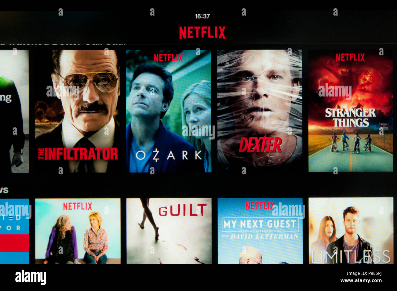 Netflix, media streaming service, screen - Stock Image