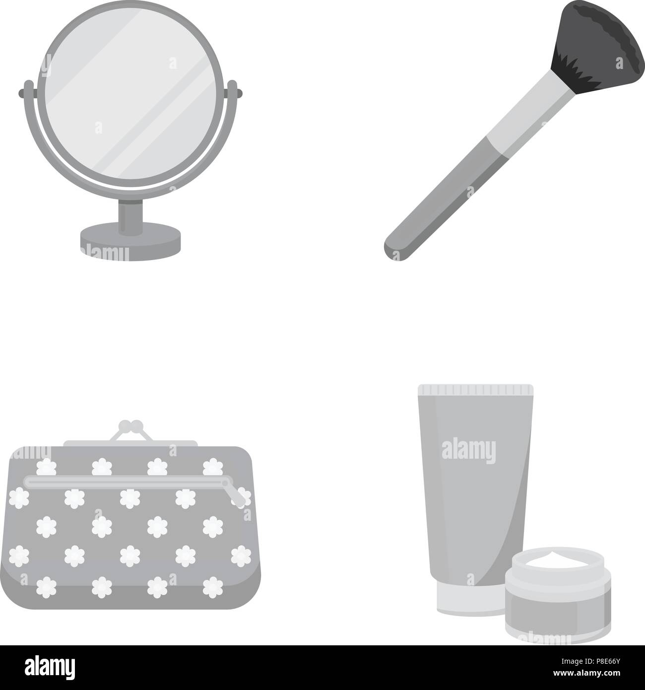 Table mirror, cosmetic bag, face brush, body cream.Makeup set collection icons in monochrome style vector symbol stock illustration .