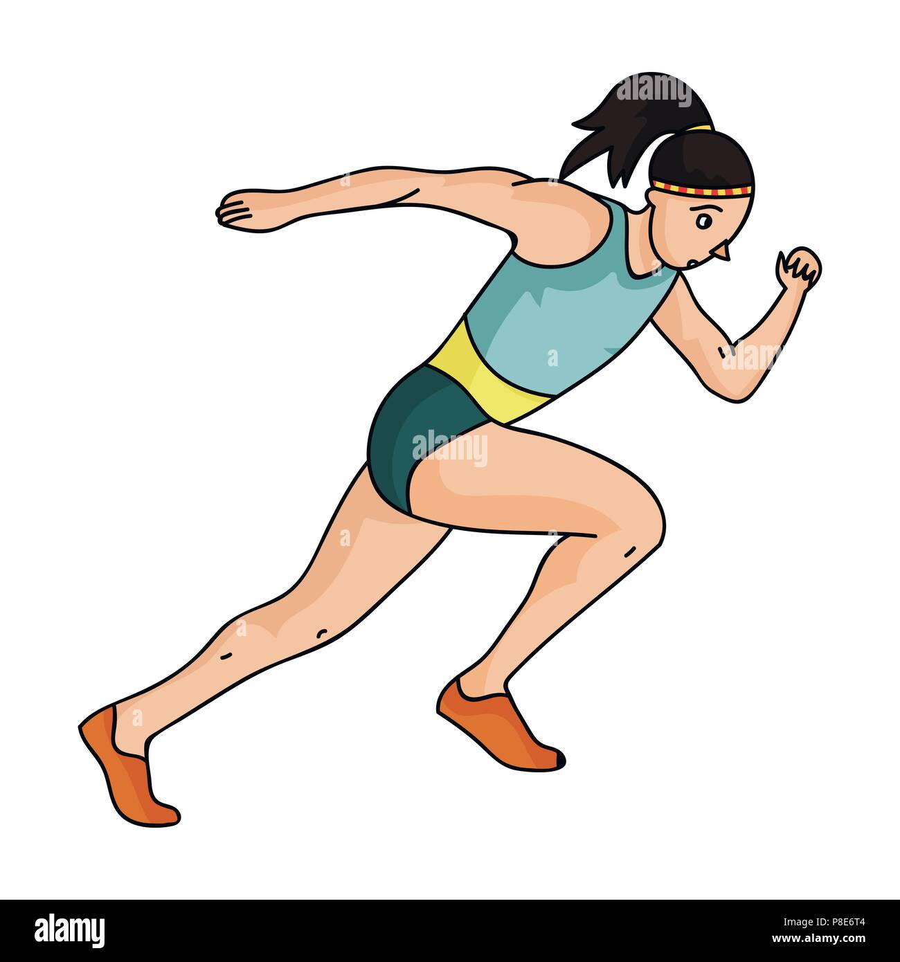 The girl is engaged in athletics.The Olympics in athletics.Olympic sports single icon in cartoon style vector symbol stock web illustration. - Stock Vector