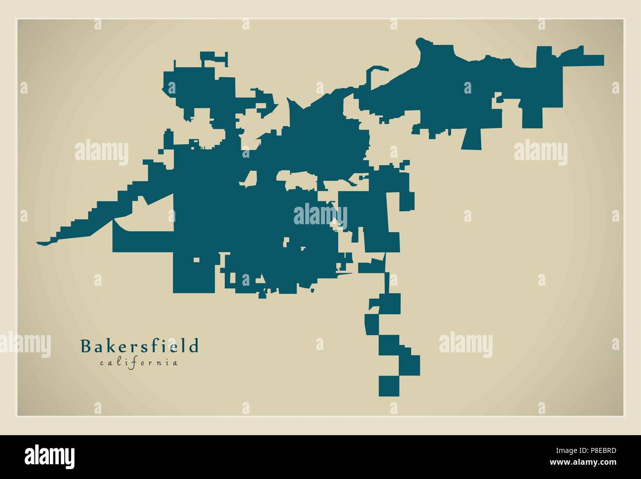 Modern City Map - Bakersfield California city of the USA Stock ... on