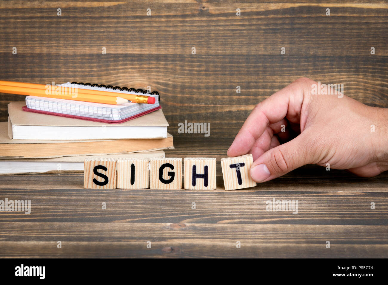 Sight. Wooden letters on the office desk - Stock Image