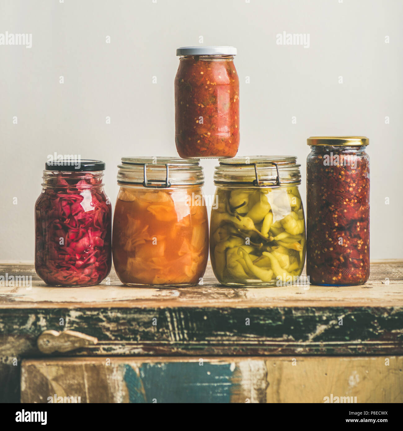 Autumn seasonal pickled or fermented colorful vegetables, square crop - Stock Image