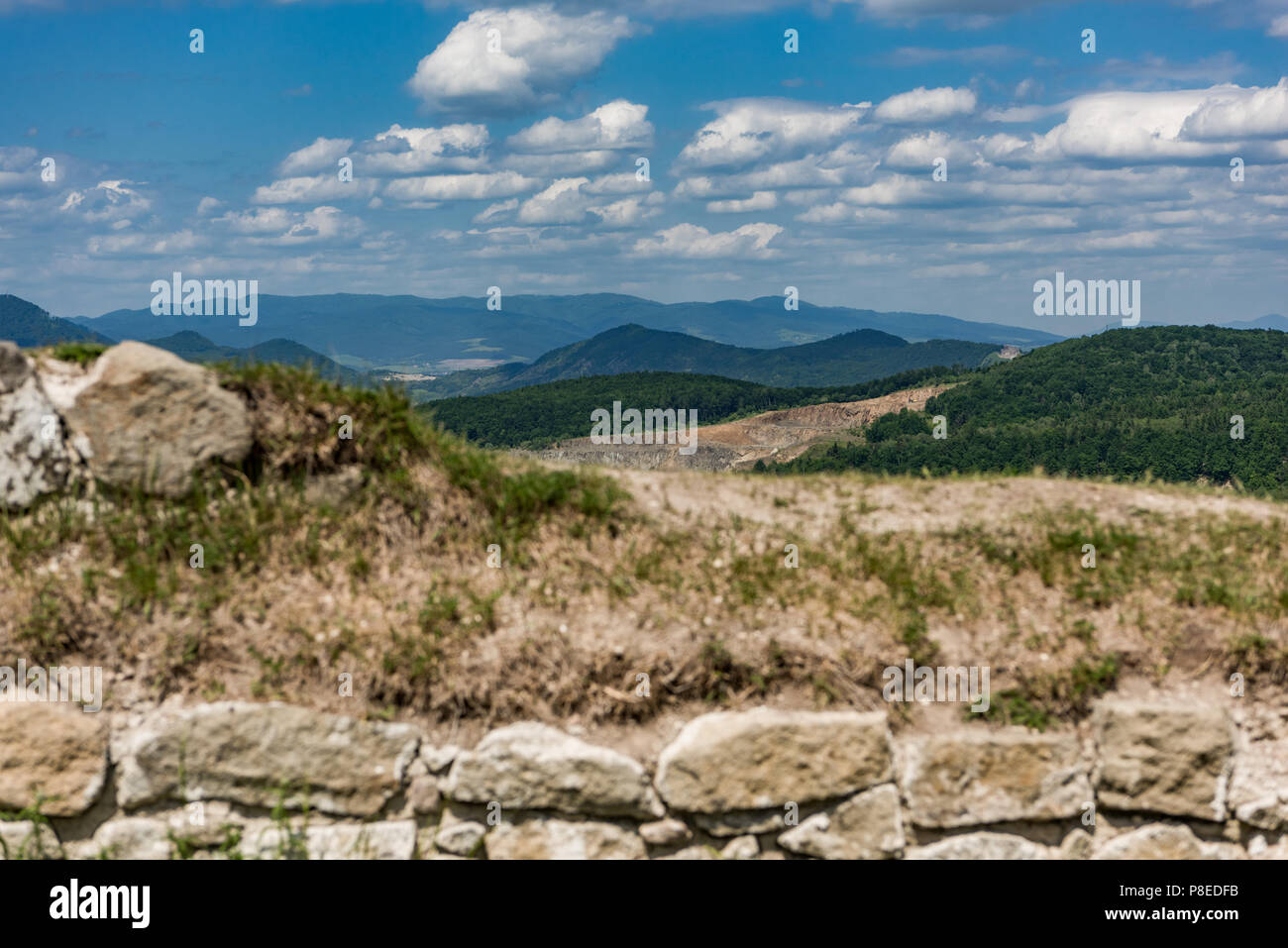 view on the mountains from the castle sebes stock photo 211759615