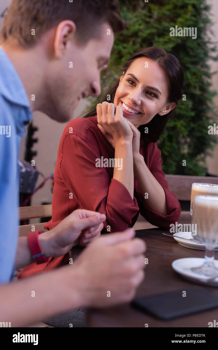 Elegant stylish woman looking at her husband - Stock Image