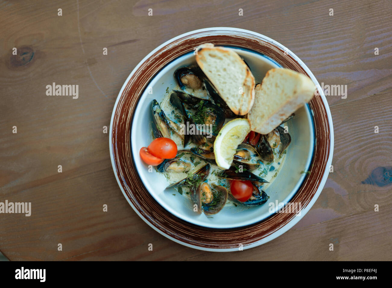 Top view of seafood dish with mussels in creamy sauce - Stock Image