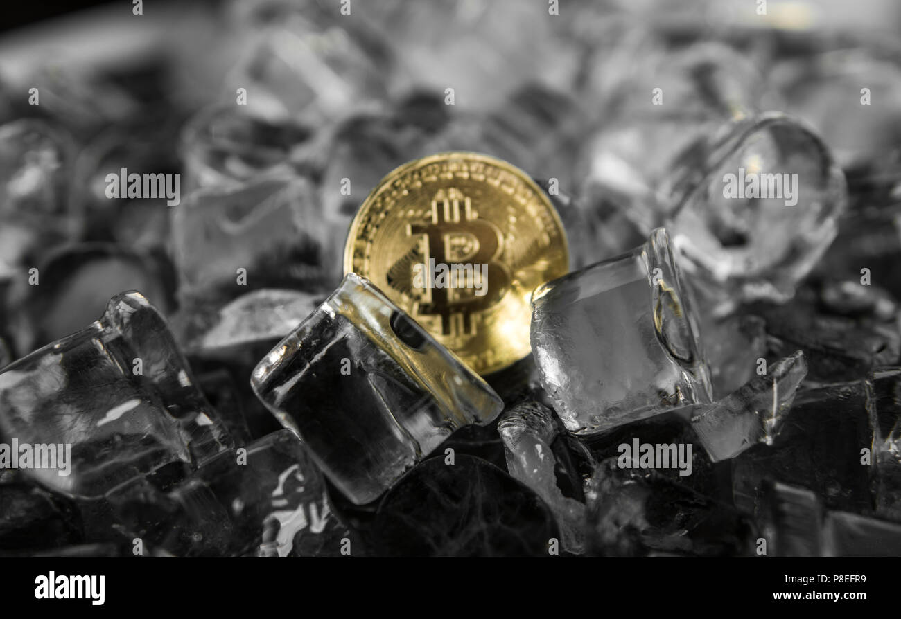 Gold bitcoin on ice background. The concept of the exchange in winter. Freeze. Blockchain mining. Digital money and virtual cryptocurrency concept. Iinvestment. Bussiness, commercial. - Stock Image