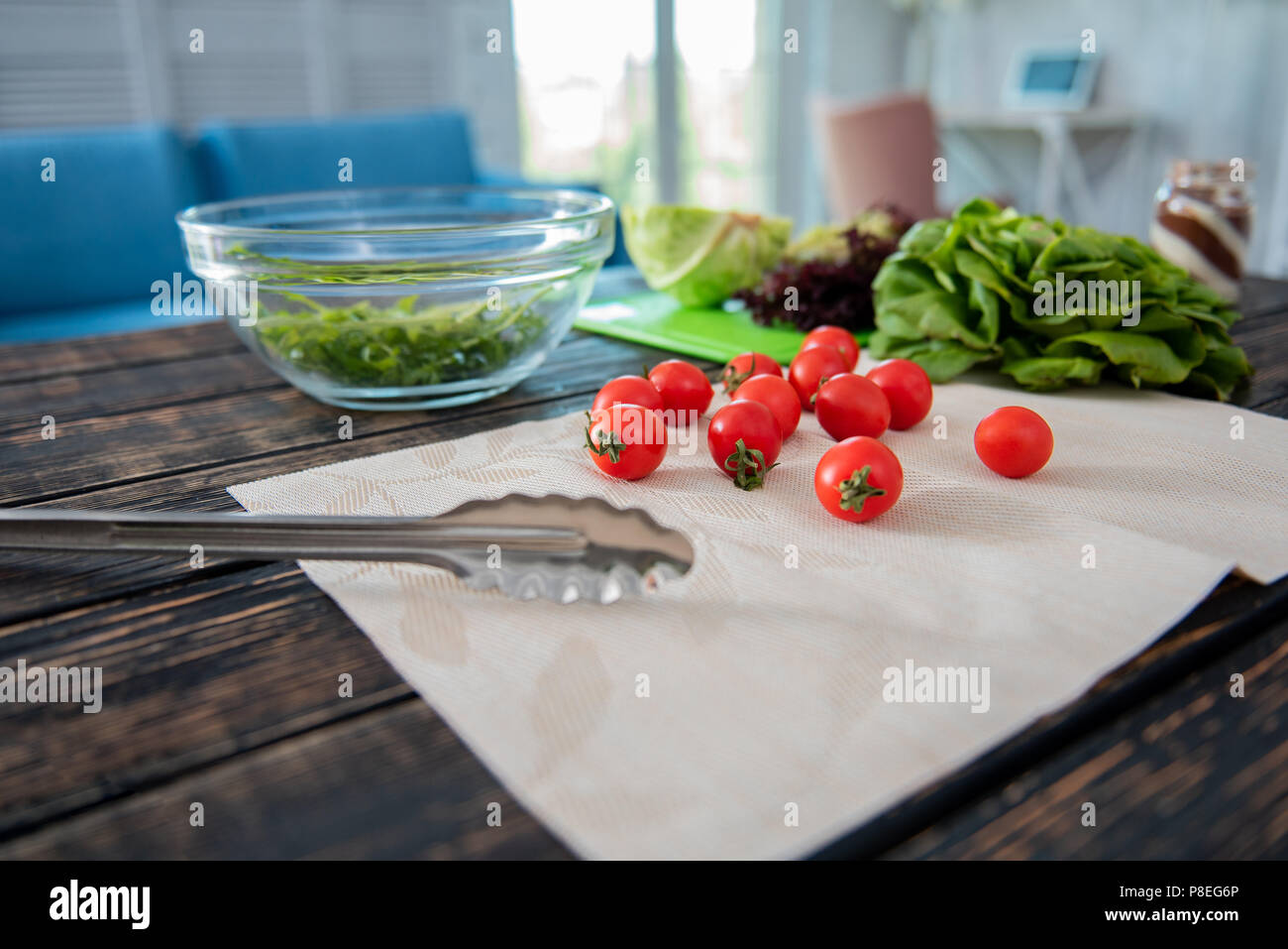 Selective focus of delicious little cherry tomatoes - Stock Image