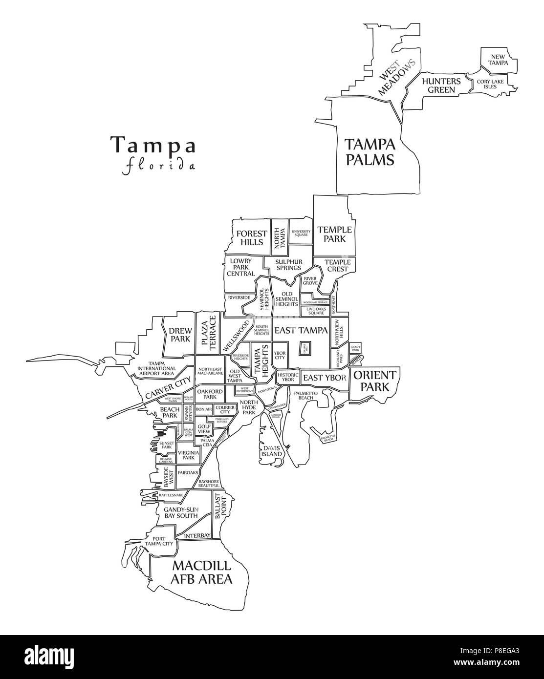 Map Of Tampa Florida Area.Modern City Map Tampa Florida City Of The Usa With Neighborhoods