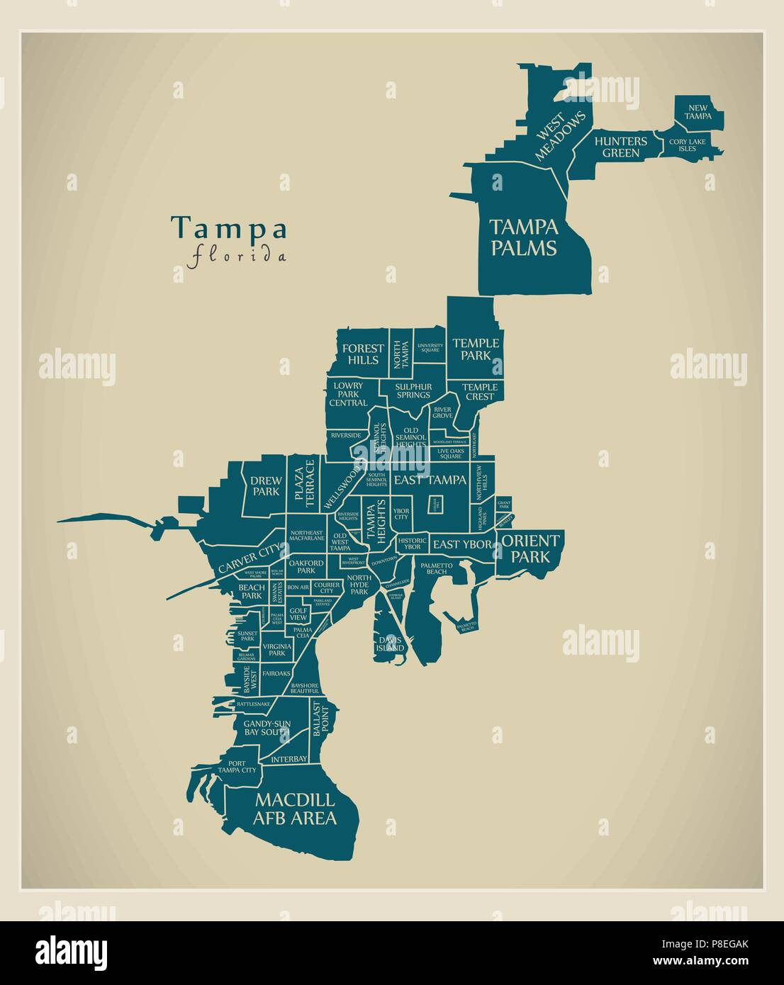 Florida City Map.Modern City Map Tampa Florida City Of The Usa With Neighborhoods
