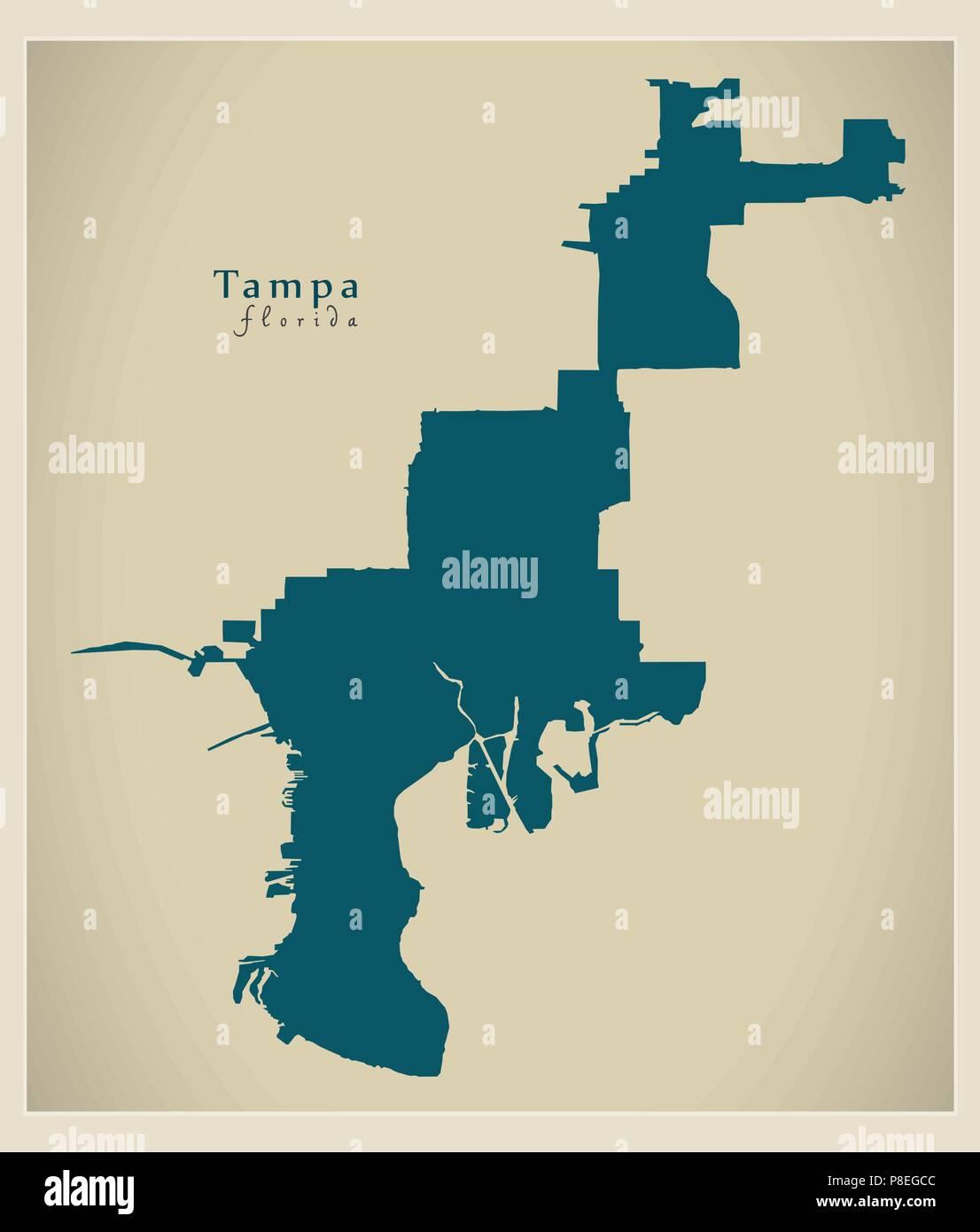 Map Of Tampa Florida Area.Modern City Map Tampa Florida City Of The Usa Stock Vector Art