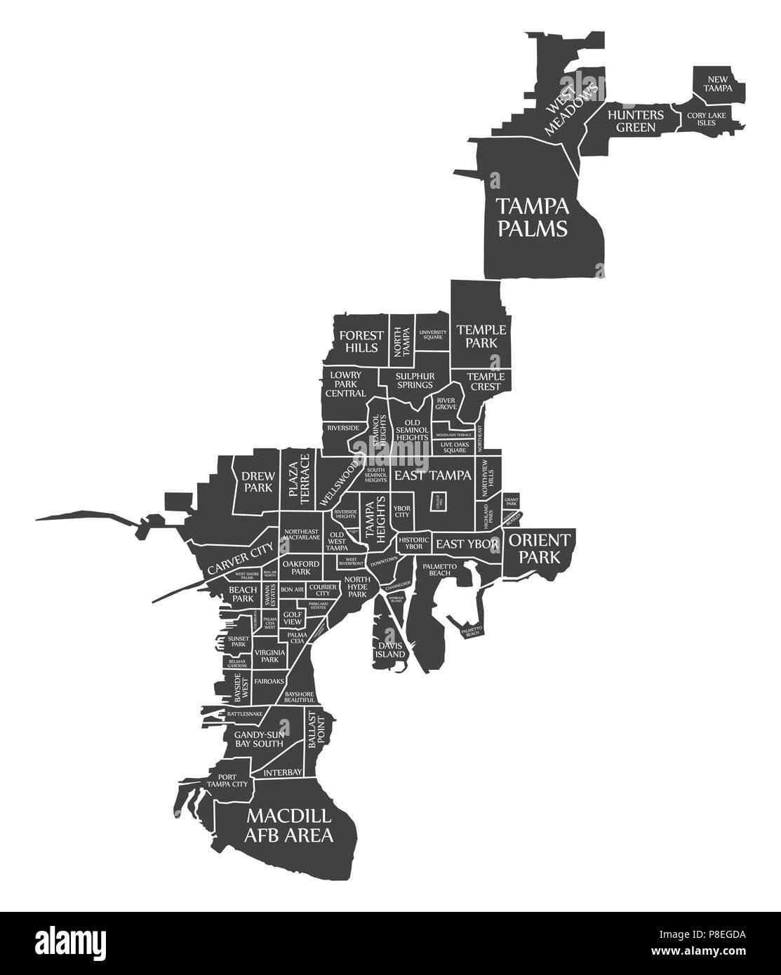 Tampa Florida On Map.Tampa Florida City Map Usa Labelled Black Illustration Stock Vector