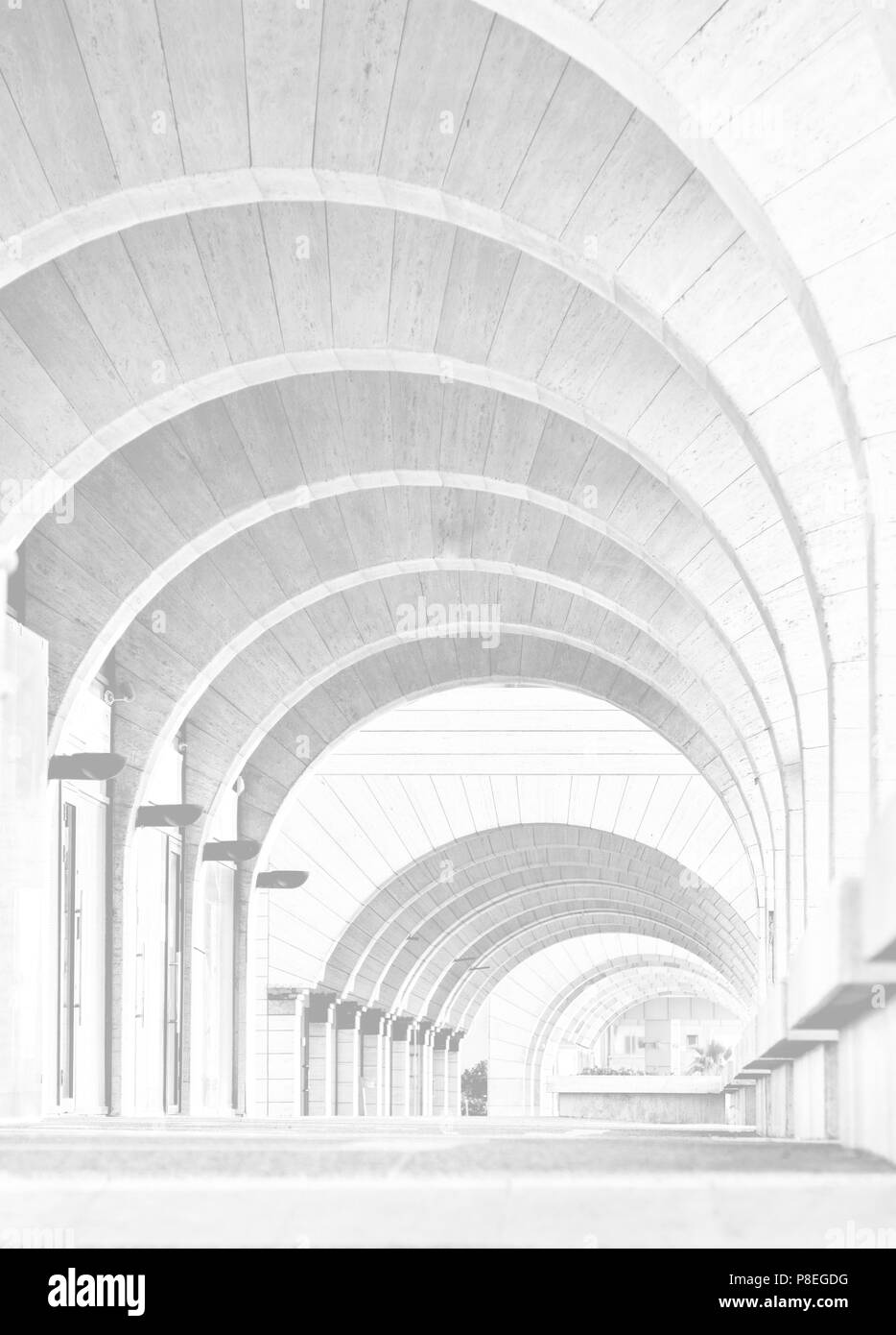 Tel Aviv, Israel - APRIL 28, 2018: Contemporary Architecture: Archway Arcade Modern building,architecture photography in Hi-Key - Stock Image