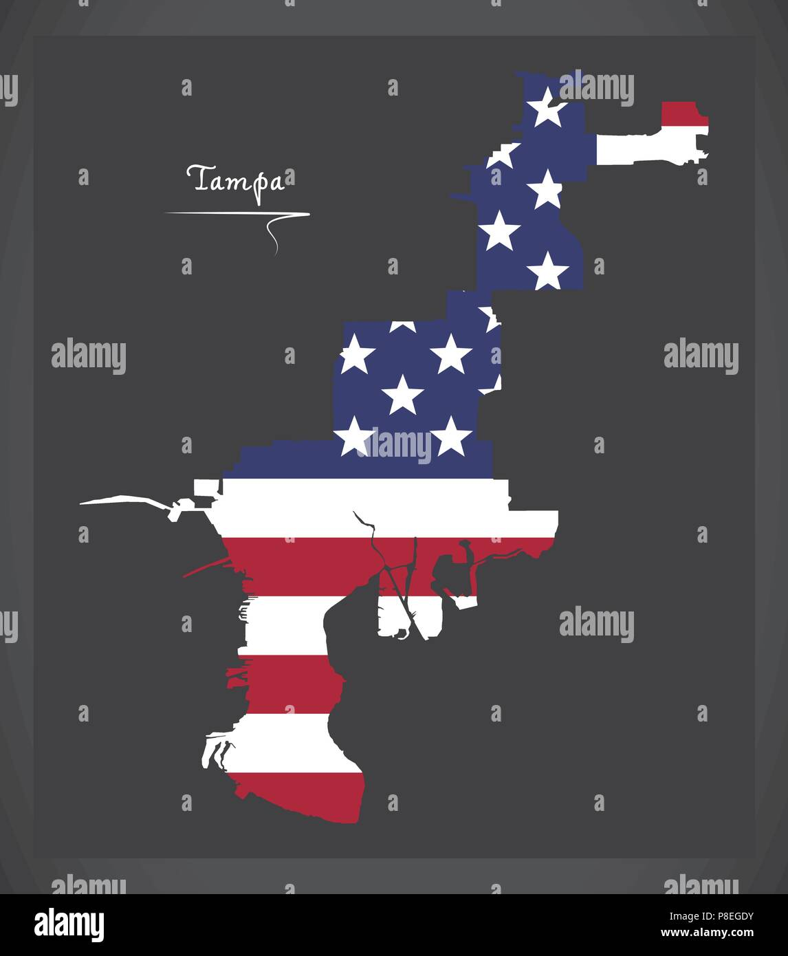 Map Of Tampa Florida.Tampa Florida Map With American National Flag Illustration Stock