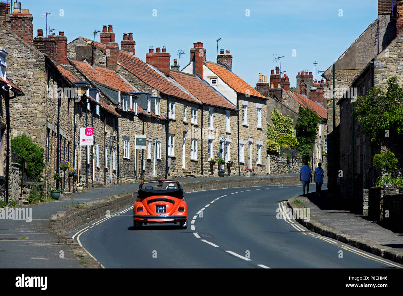 Open-topped VW Beetle in Thornton-le-Dale, North Yorkshire, England UK - Stock Image
