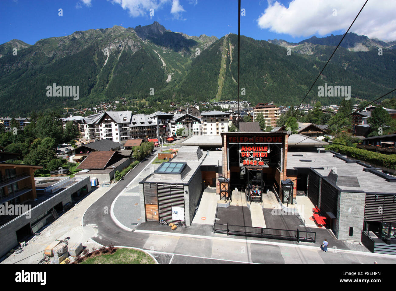 Valley station of the cable car heading for the peak of the Aiguille-du-Midi in the Mont Blanc massif, Chamonix, Haute Savoie, France - Stock Image