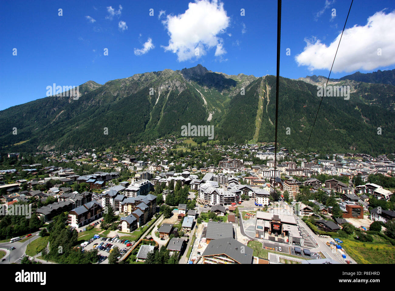 Chamonix, Haute Savoie, France, seen from the Aiguille-du-Midi cable car - Stock Image
