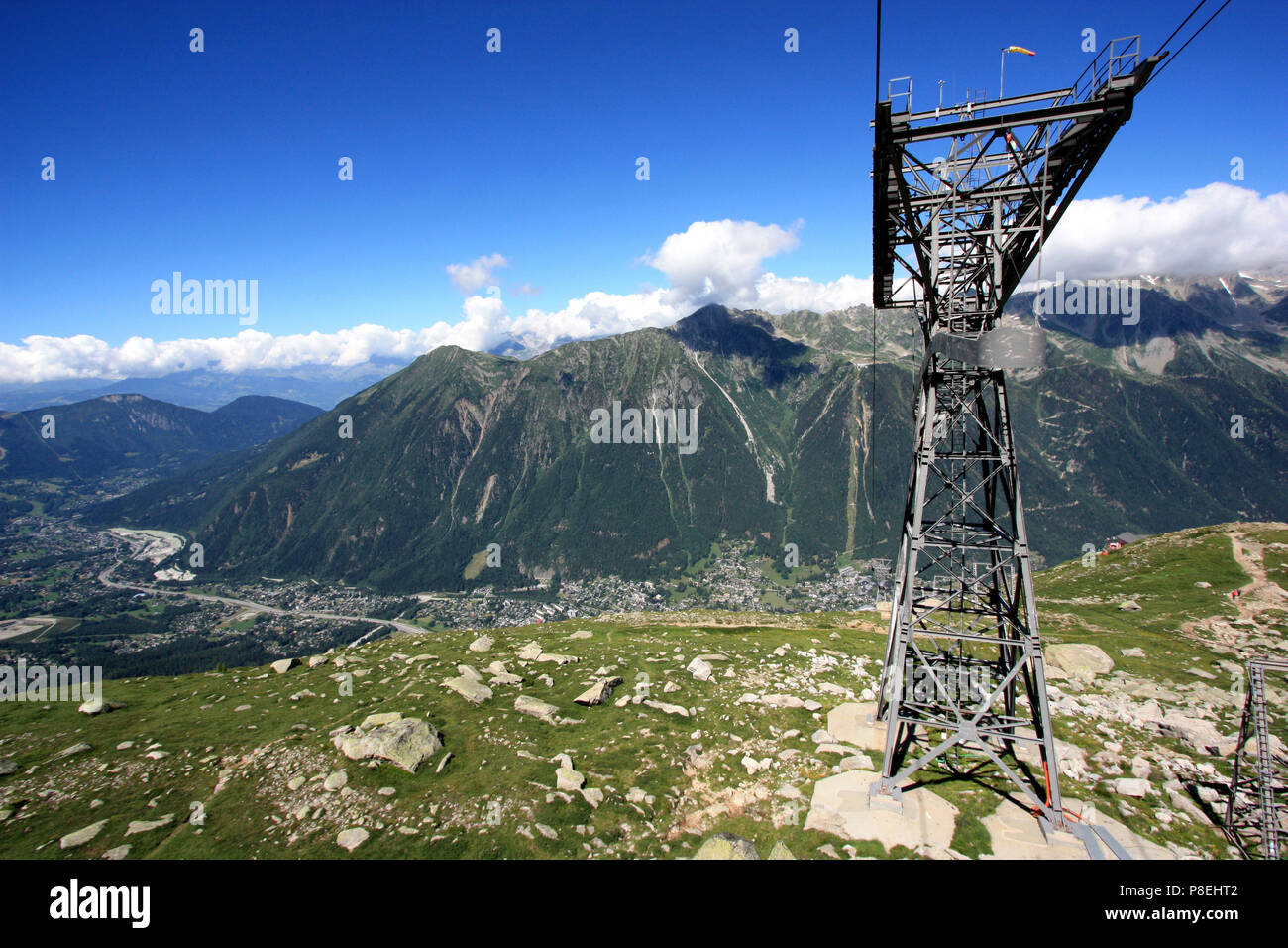 Aerial lift pylon of the Aiguille du Midi cable car above Chamonix, France - Stock Image