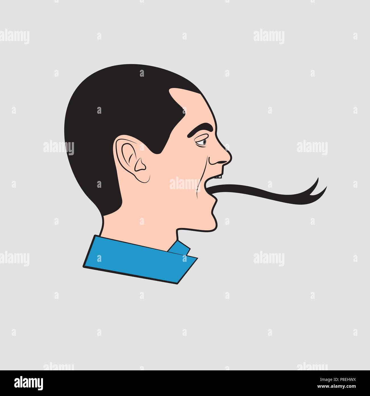 man with snake tongue Stock Vector