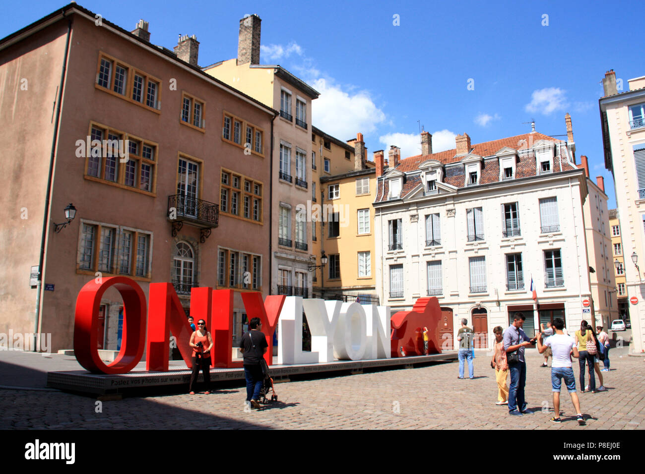 Giant capital letters 'ONLY LYON' at the Place du Change - City of Lyon, France - Stock Image