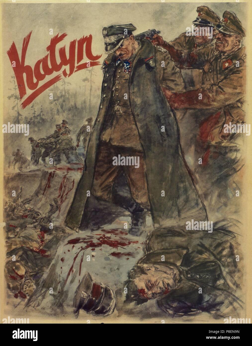The Katyn massacre (Nazi propaganda poster). Museum: PRIVATE COLLECTION. - Stock Image