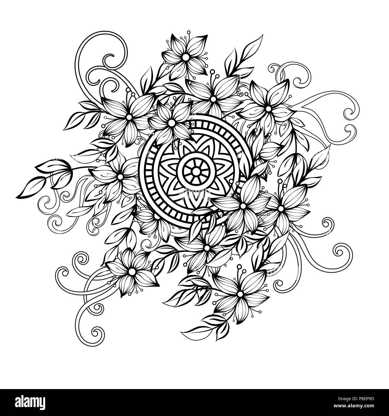 Floral Pattern In Black And White Adult Coloring Book Page With Flowers And Mandalas Art Therapy Anti Stress Coloring Page Hand Drawn Vector Illustration Stock Vector Image Art Alamy