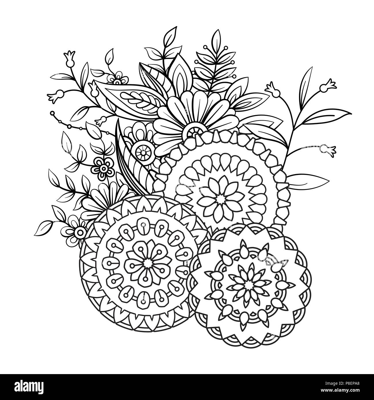 Adult Coloring Book Page With Flowers And Mandalas Floral Pattern
