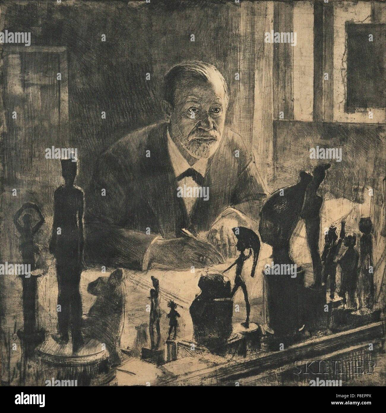 Portrait of Sigmund Freud. Museum: PRIVATE COLLECTION. - Stock Image