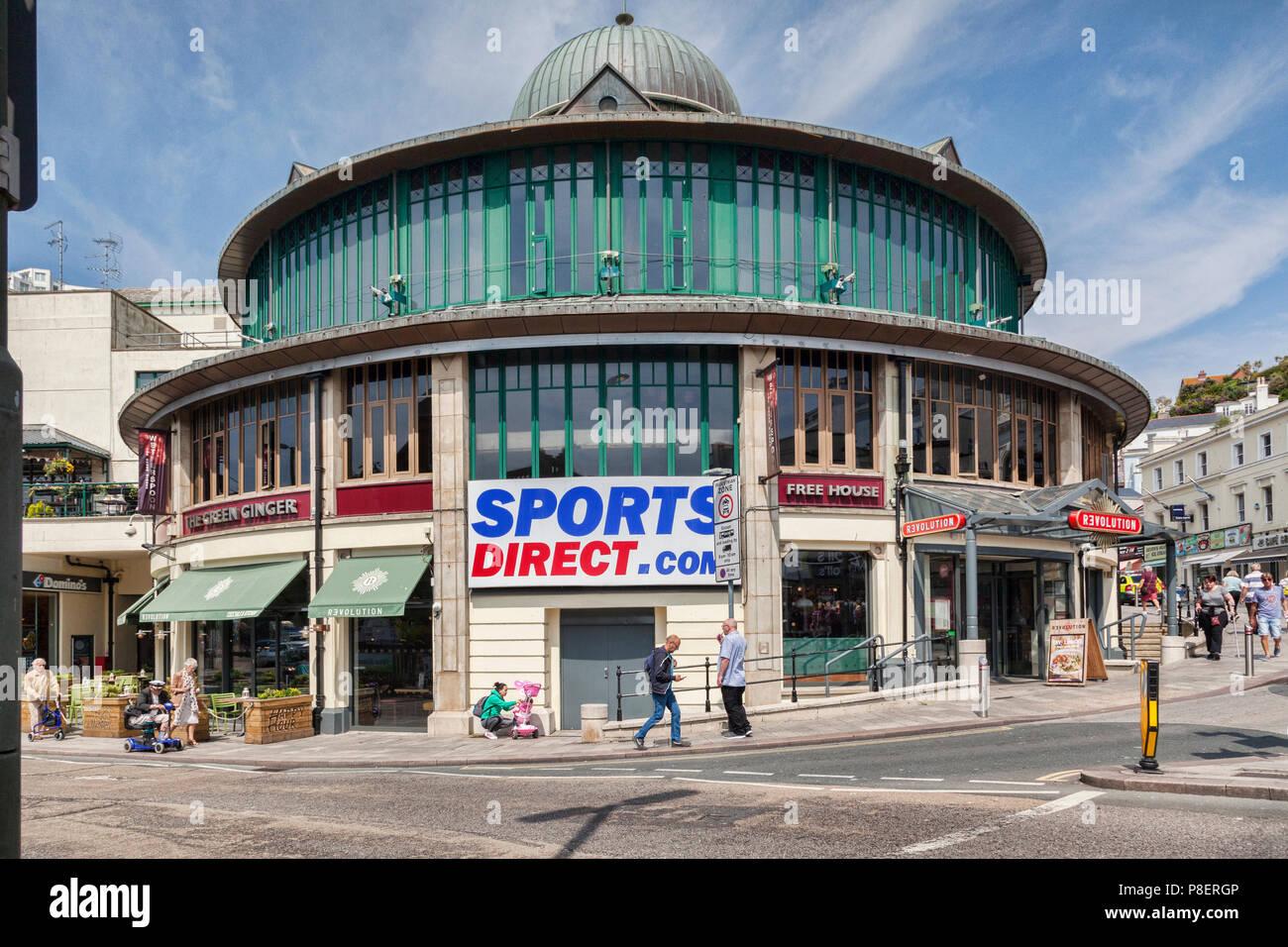 21 May 2018: Torquay, Devon, UK - Sports Direct, Winter Gardens Shopping Centre, Fleet, Street. - Stock Image