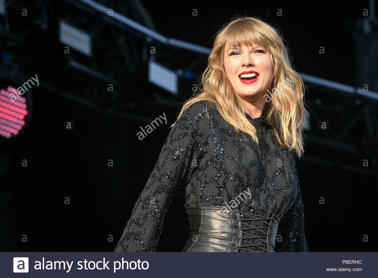 File photo dated 27/05/18 of Taylor Swift, who has discussed songwriting and Beatlemania with Pattie Boyd, the ex-wife and muse of both George Harrison and Eric Clapton. - Stock Image