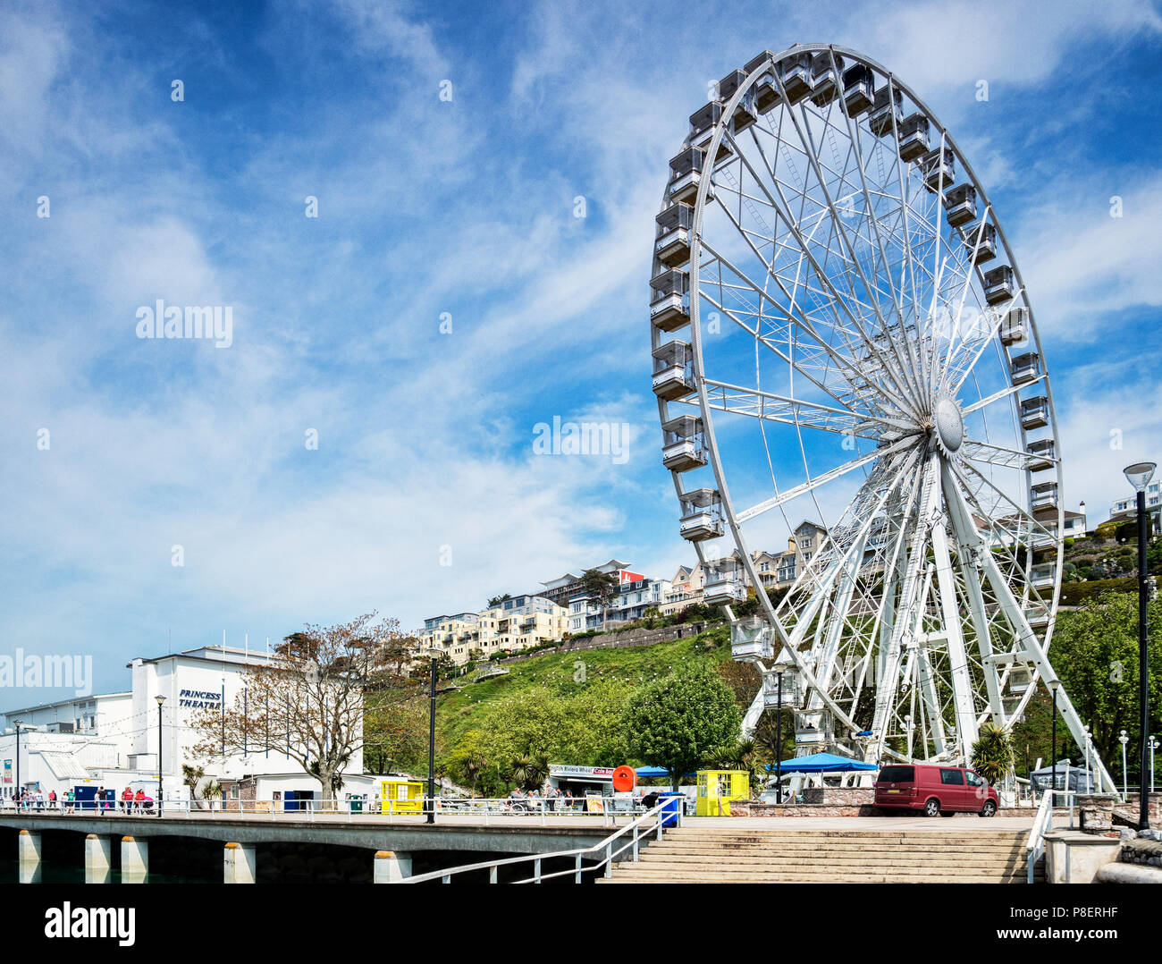 21 May 2018: Torquay, Devon, UK - The English Riviera Wheel and Princess Theatre. - Stock Image
