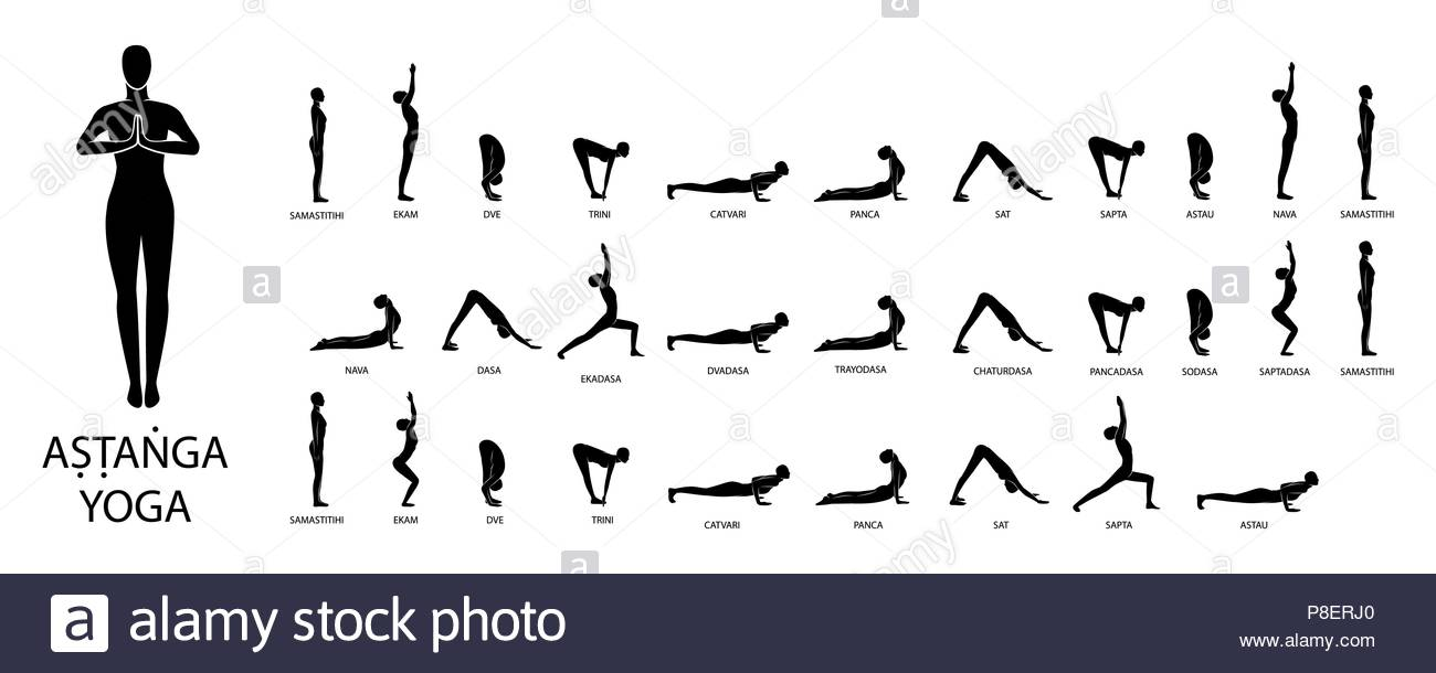 Yoga Vector Set Figures Poses Ashtanga Stock Art Rh Alamy Com Beginners Sequence