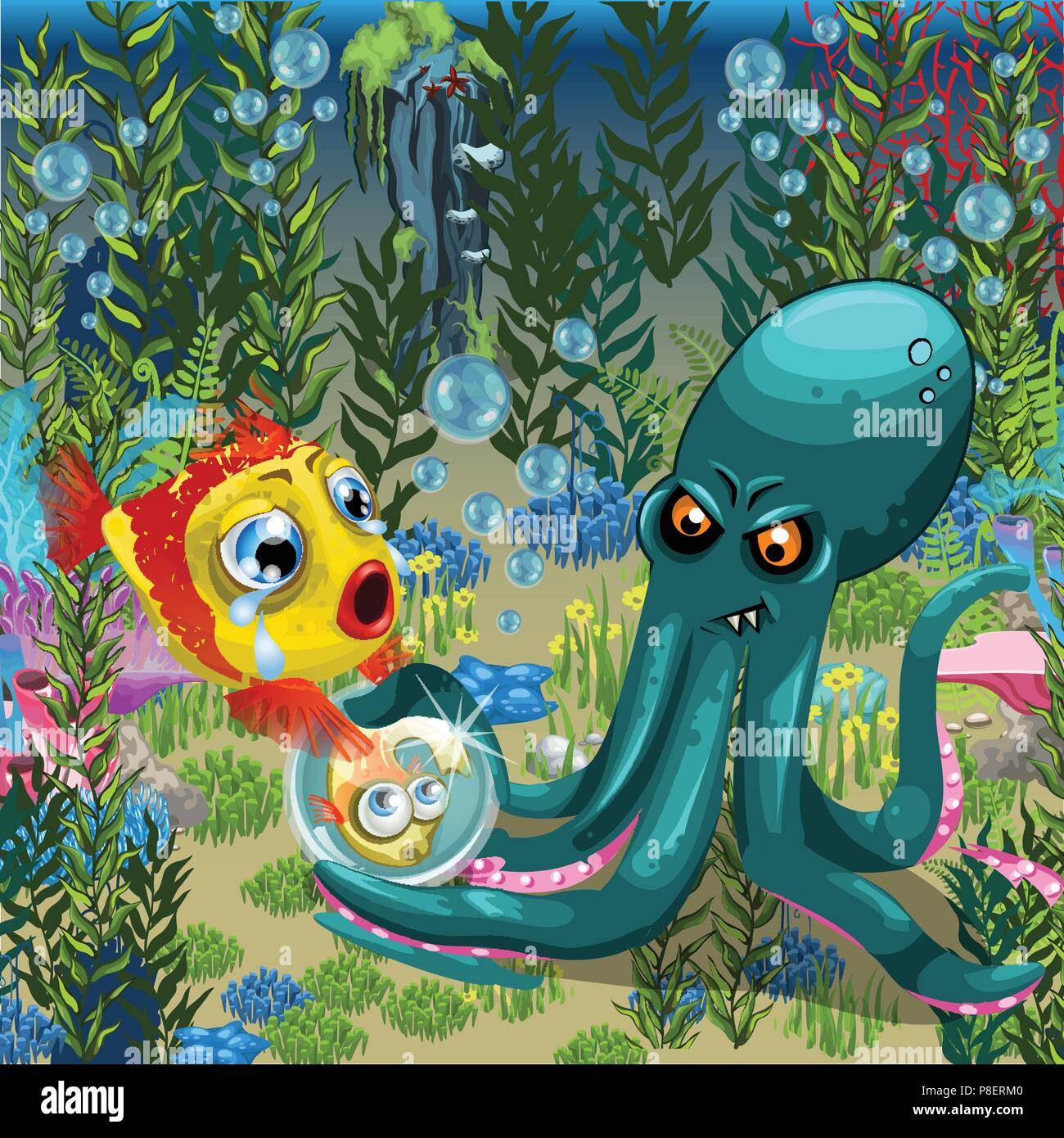 Evil octopus robs fish of her child. A poster on the theme of the inhabitants of seas and oceans. Vector illustration. - Stock Image