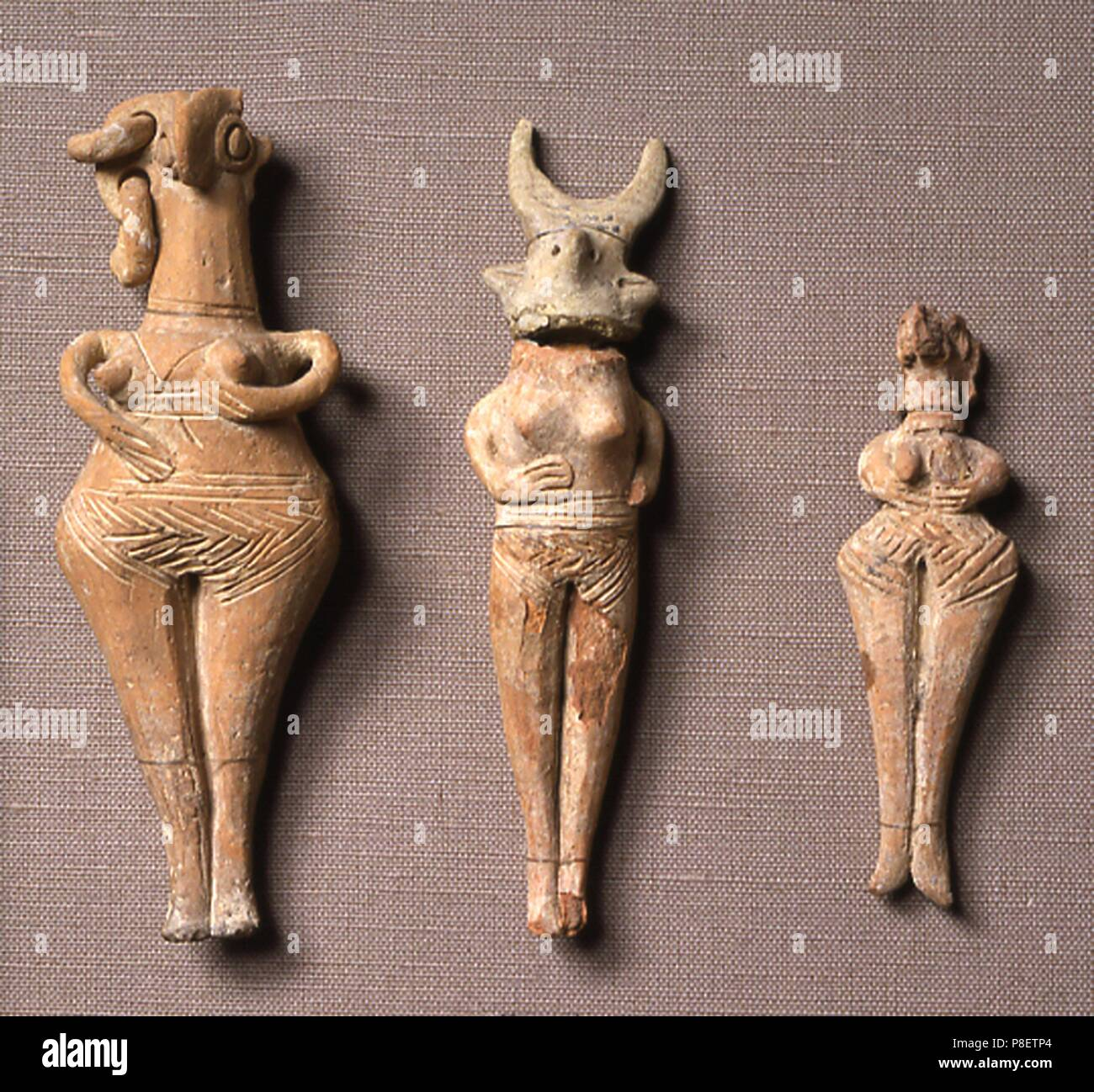 Anthropomorphic Trypillian clay figures. Museum: State History Museum, Moscow. Stock Photo