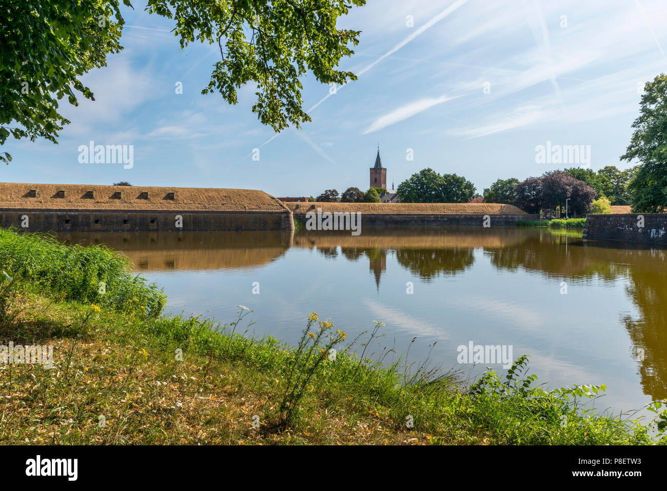 Bastion Oranje the old fortified town of Naarden, North Holland, Netherlands, Dutch fortress in water surrounded Naarden Vesting - Stock Image
