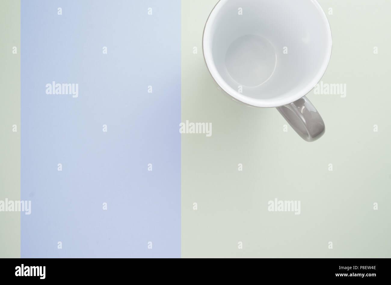 simple empty ceramic mug with white interior - top view - Stock Image