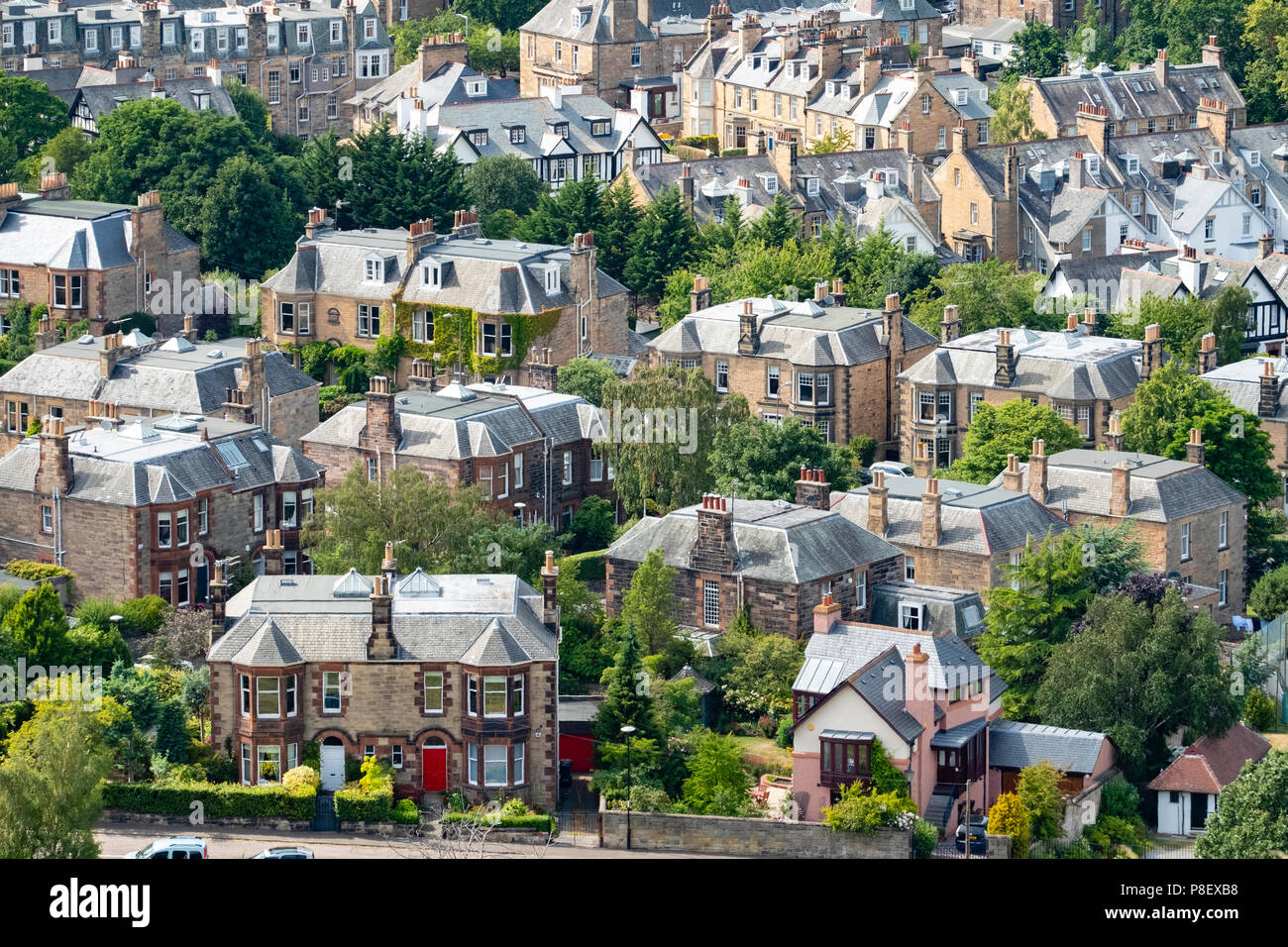 Large  villas in upmarket Morningside district of Edinburgh, Scotland, UK - Stock Image