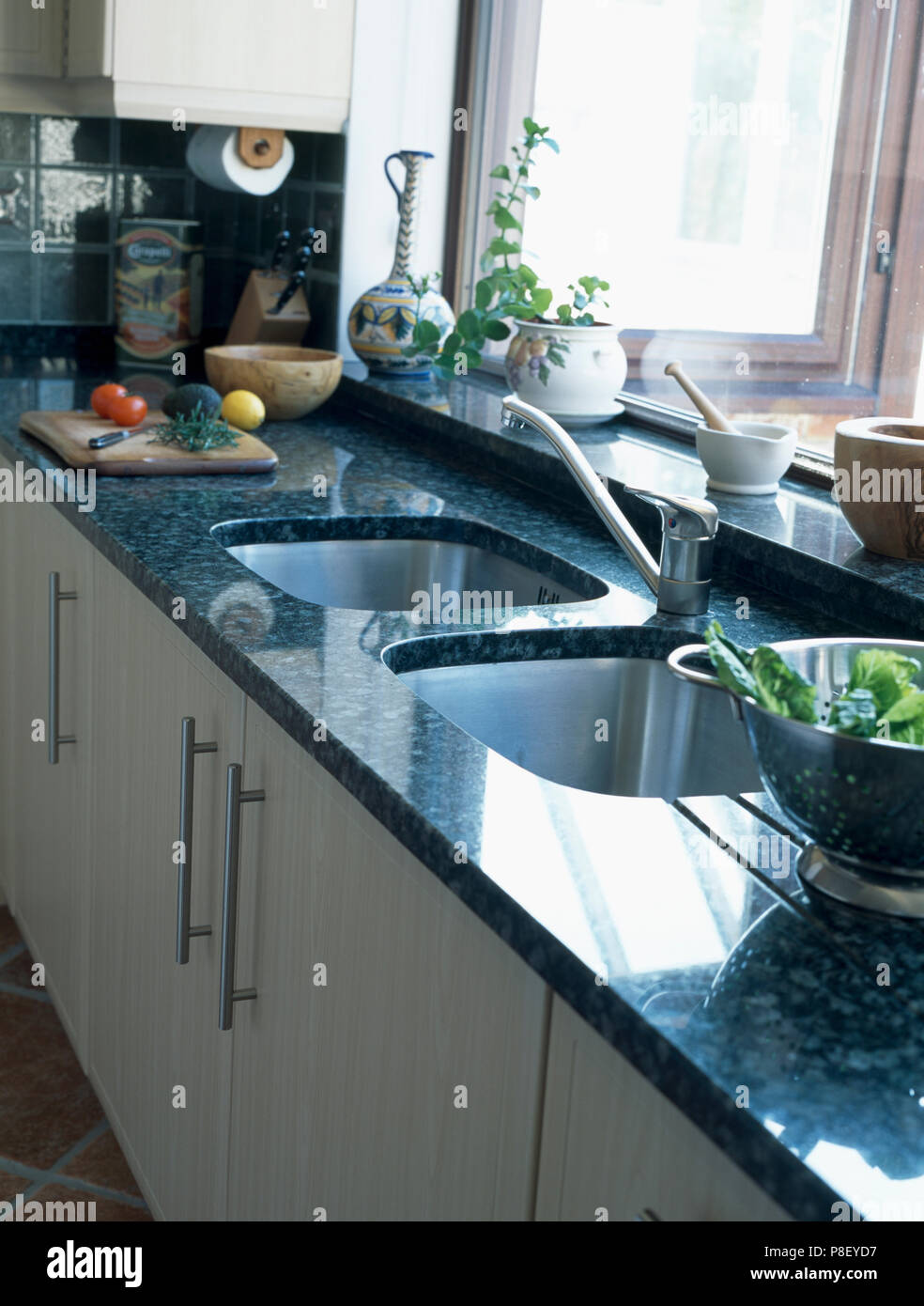 Double Sinks In Modern Kitchen With Granite Worktop Stock Photo Alamy