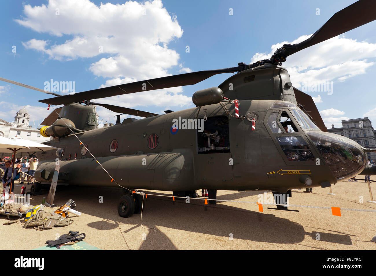 View  of a Boeing Chinook HC6A  heavy-lift helicopter, on display at Horse Guards Parade, as part of RAF 100 Centenary Celebration - Stock Image