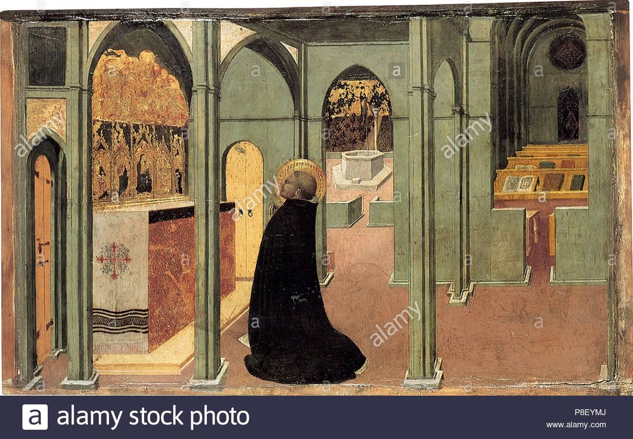 Saint Thomas Aquinas in Prayer. Museum: Szepmuveszeti Muzeum, Budapest. - Stock Image