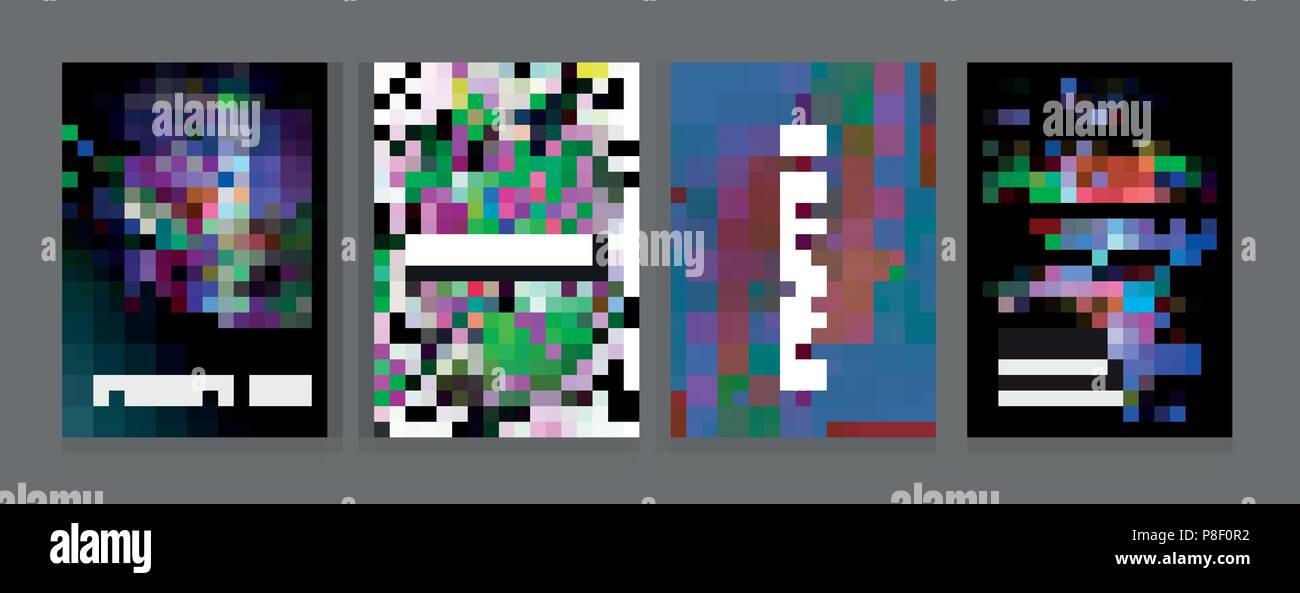 Stock Vector Illustration Glitch Style Computer Screen Error