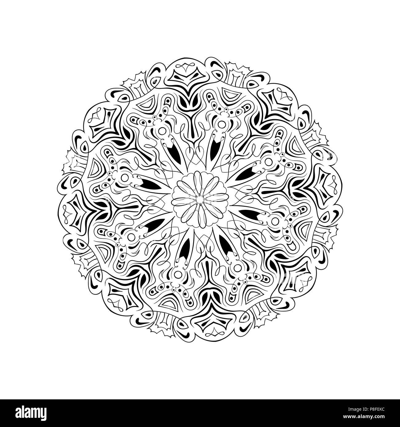 vector, print henna. mandala flower, coloring page, coloring book ...