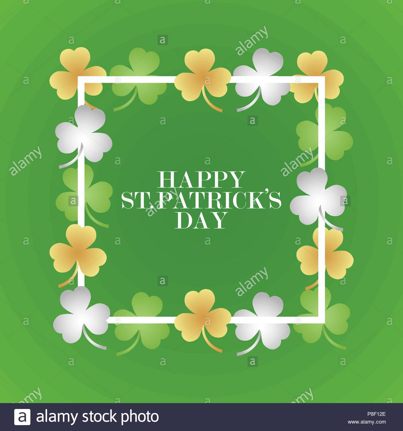 Invitation or greeting card for the day of St. Patrick. Black frame with clover leaves. Vector illustration Stock Vector