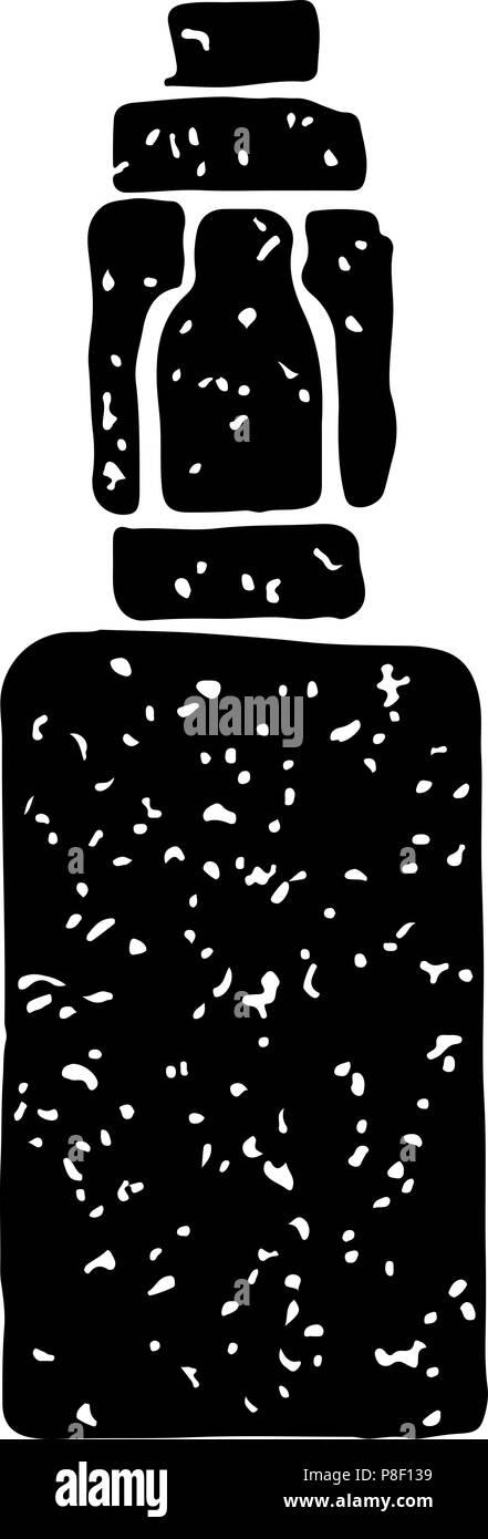 Black vintage emblem of electronic cigarette, isolated vector illustration - Stock Image