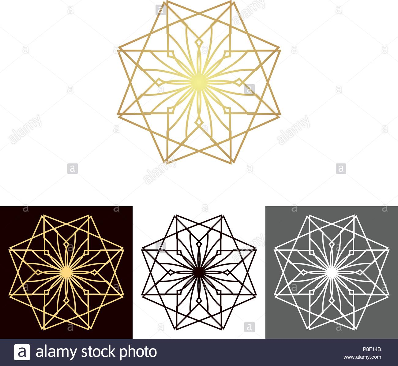 A set of ancient geometric linear figures, for decorating your own design. The vector illustration Stock Vector