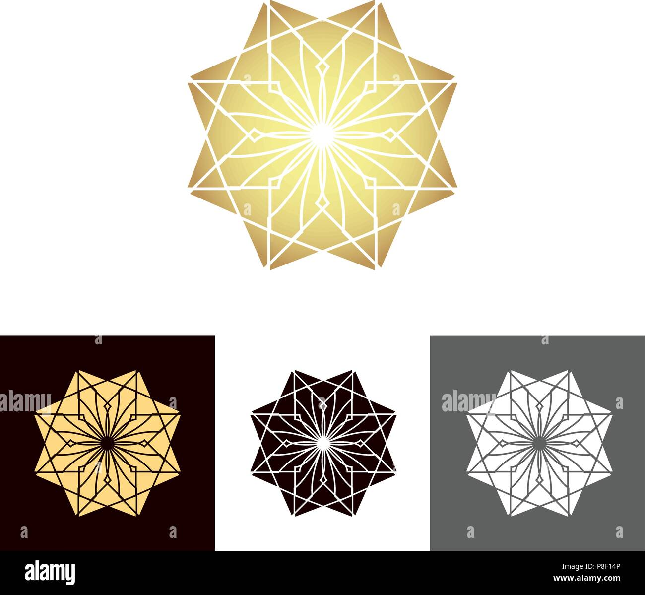 A set of ancient geometric linear figures, for decorating your own design. The vector illustration - Stock Vector