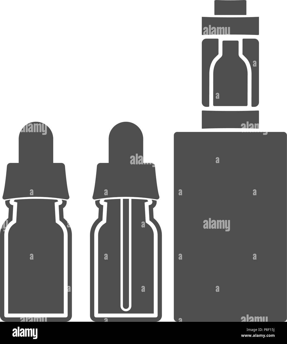 Electronic cigarette with bottles of liquid. Vector illustration - Stock Image