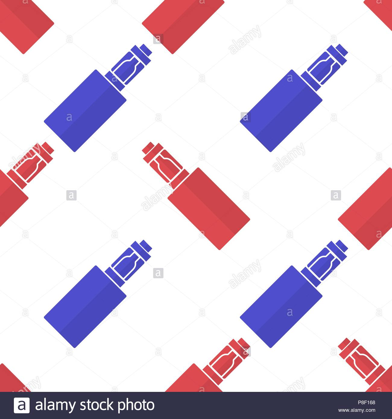 Background or pattern of red and blue electronic cigarettes. Vector illustration Stock Vector