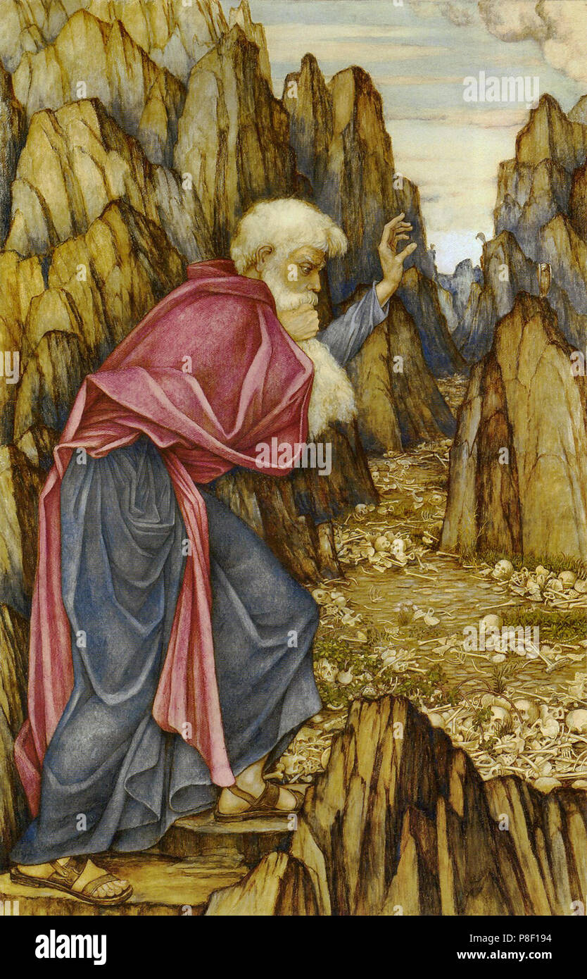 Spencer-Stanhope  John Roddam - the Vision of Ezekiel - Valley of the Dry Bones Stock Photo