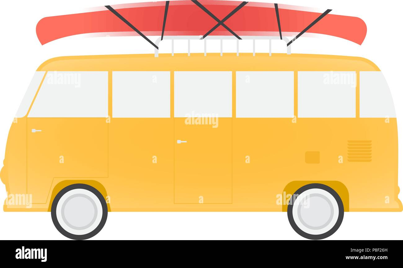 Yellow bus for travel with canoe, vector illustration - Stock Vector
